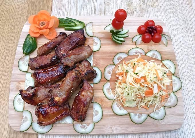Miso glazed pork ribs