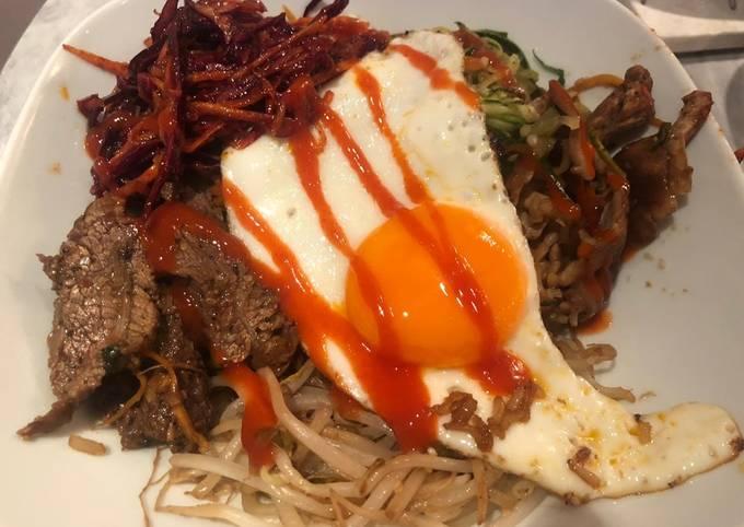 Beef and vegetable Korean rice bowl aka bibimbap