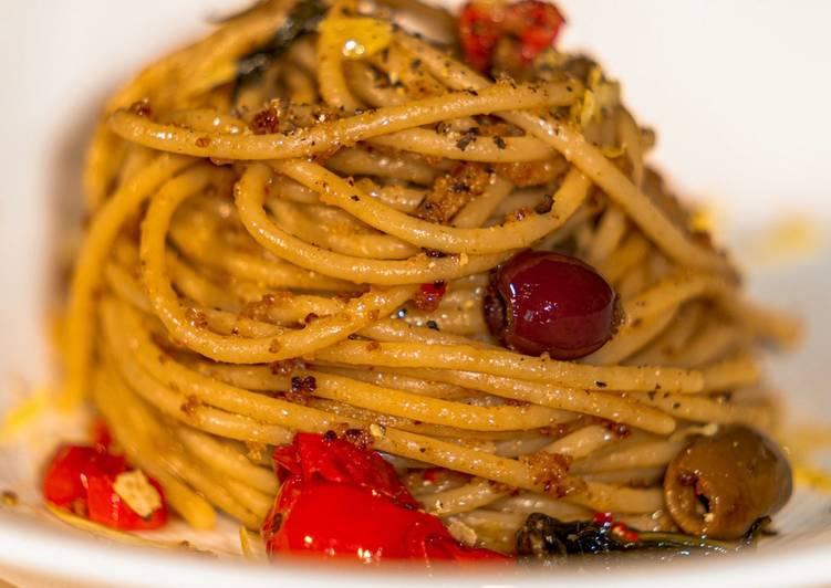Recipe: Delicious Spaghetti di Lenticchie Gialle alle Acciughe, e Limone e Bottarga