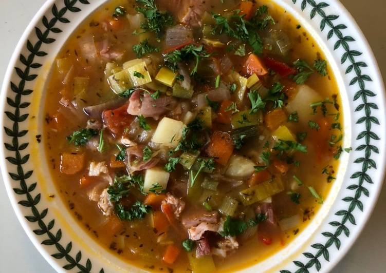 Simple Way to Make Ultimate Use-up Ham, Leek, Tomato, Chilli, Garlic & French Bean Broth