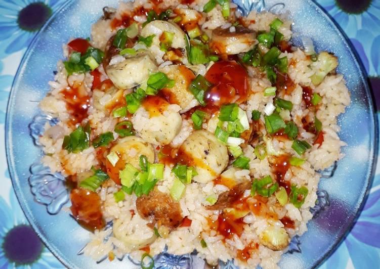Chicken Sausage Rice with burnt Garlic and Chilli Oregano Sauce