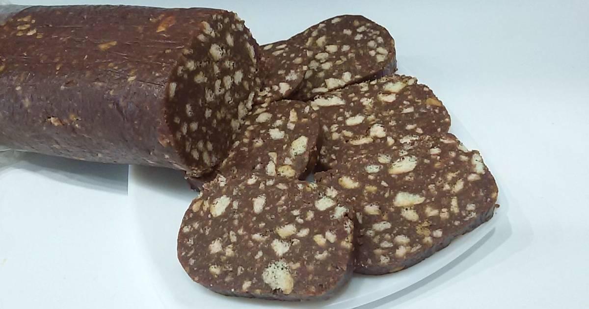 шоколадные колбаски из печенья рецепт с фото