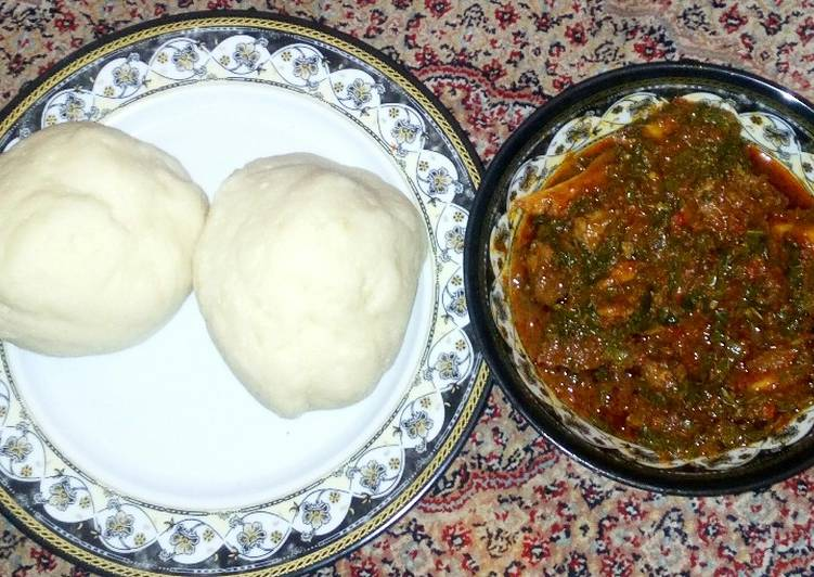 Foods That Can Make You Happy Pounded yam with pumpkin soup