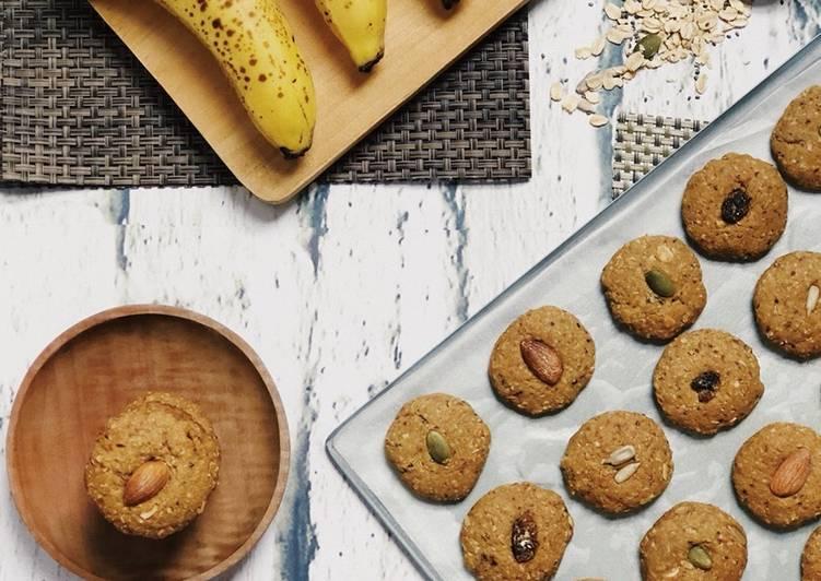 Banana peanut butter muesli soft cookies 🍪