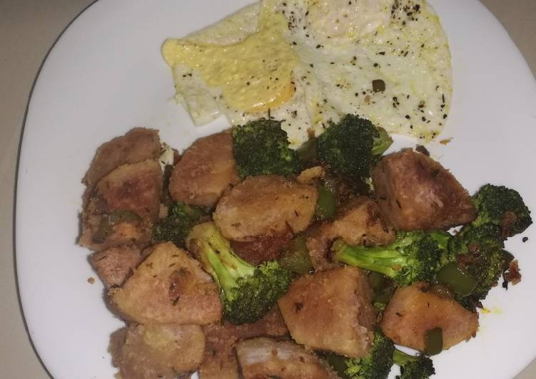 Arrowroot and broccoli stir fry with eggs - Laurie G Edwards