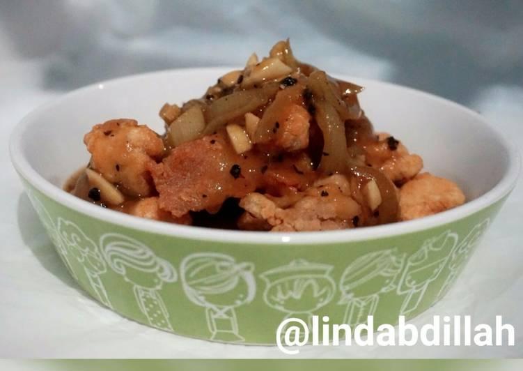 Cara Gampang Membuat Ayam fillet crispy saus lada hitam Anti Gagal