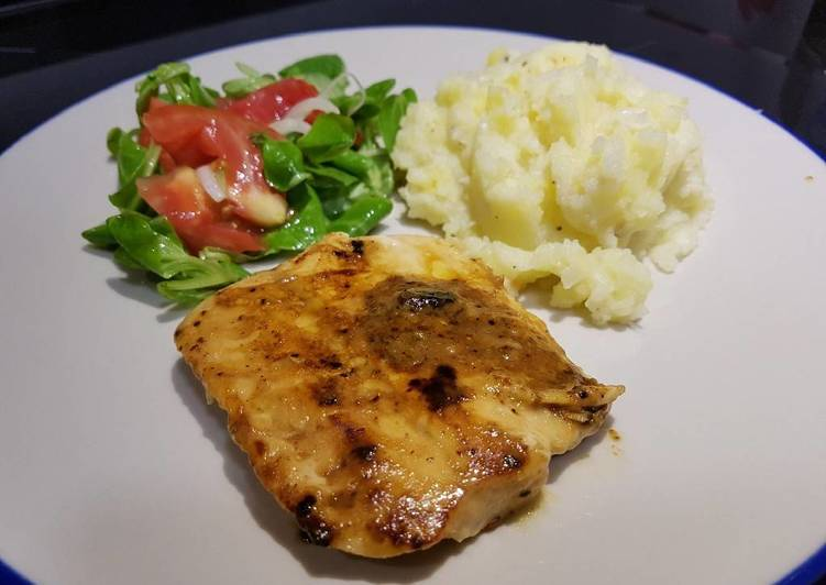 Miso and ginger salmon with cheesy mash