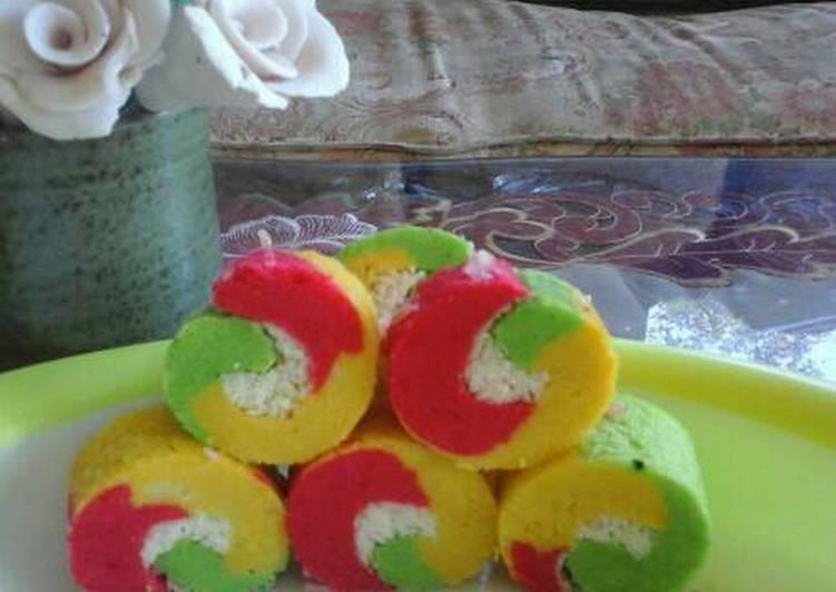 resep masak Bolu gulung rainbow irit, 1 telur - Sajian Dapur Bunda