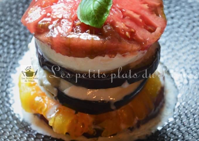 Millefeuilles tomates, aubergine, mozzarella