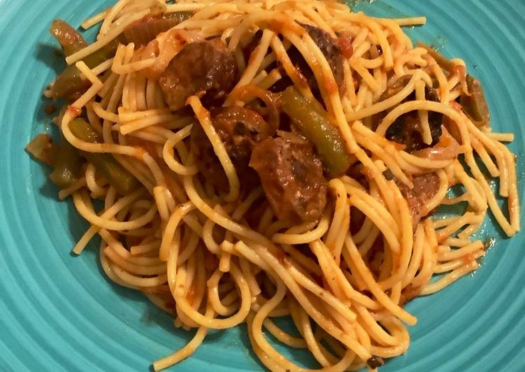 Sausage and peppers with spaghetti