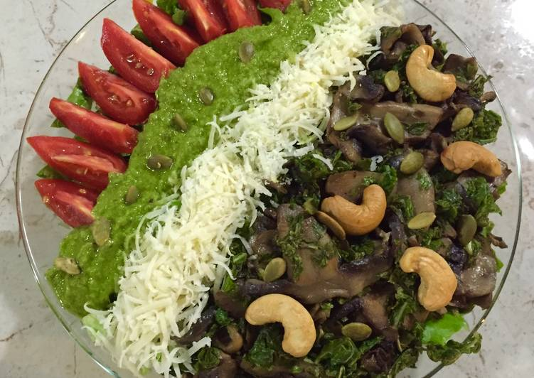 Steps to Prepare Speedy Kale, Mushroom and Kale Pesto Salad