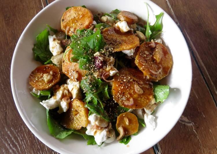 recette Salade Roquette - épinard - patates douces délicieux