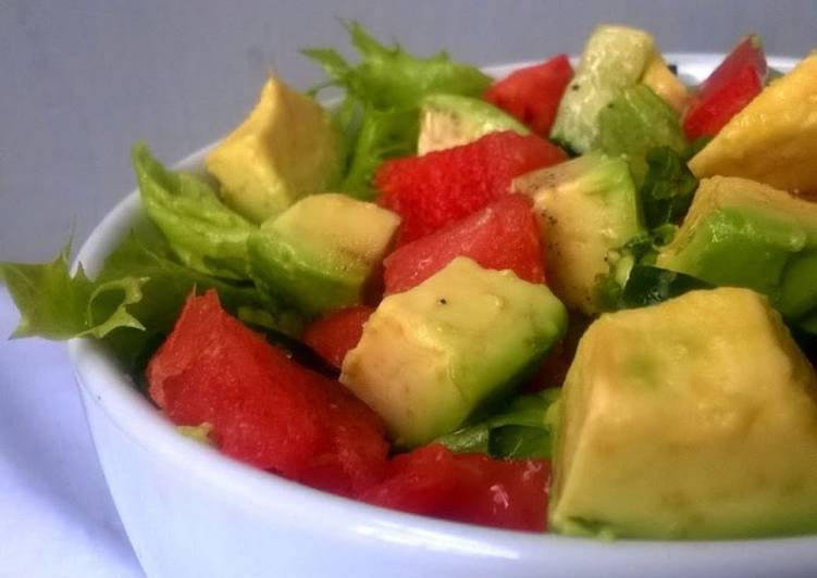 Avocado Watermelon Salad with Lemon Pepper Dressing