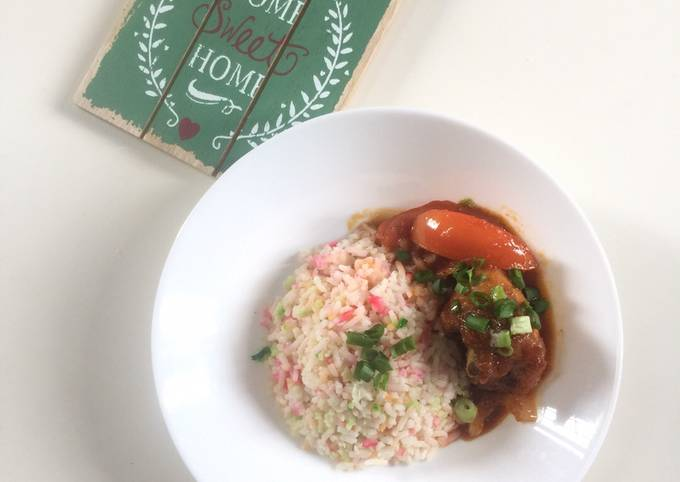 Nasi Hujan Panas dan Ayam Masak Merah My Style!