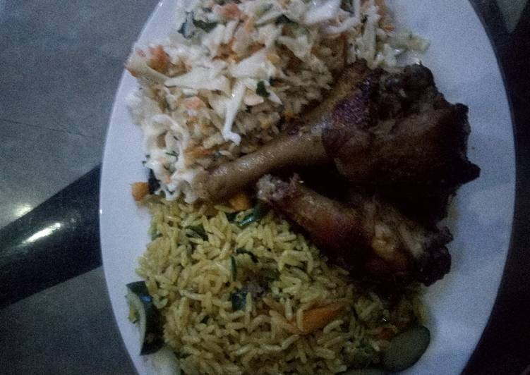Recipe of Perfect Butter Fried rice and coleslaw