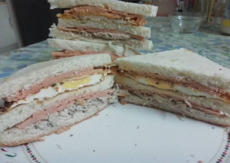 Chicken Salami Club Sandwich