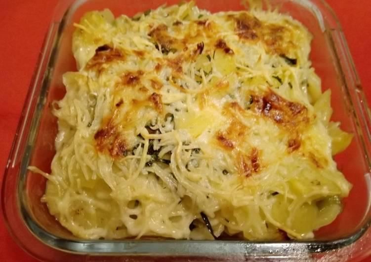 Recipe: Appetizing Kartoffel-Lauch-Gratin mit Schinken und Champignons