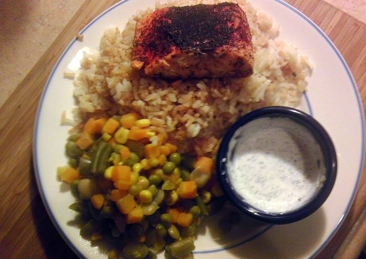 Easy Blackened Salmon with Dill Tarragon Sour Cream Dip - Laurie G Edwards