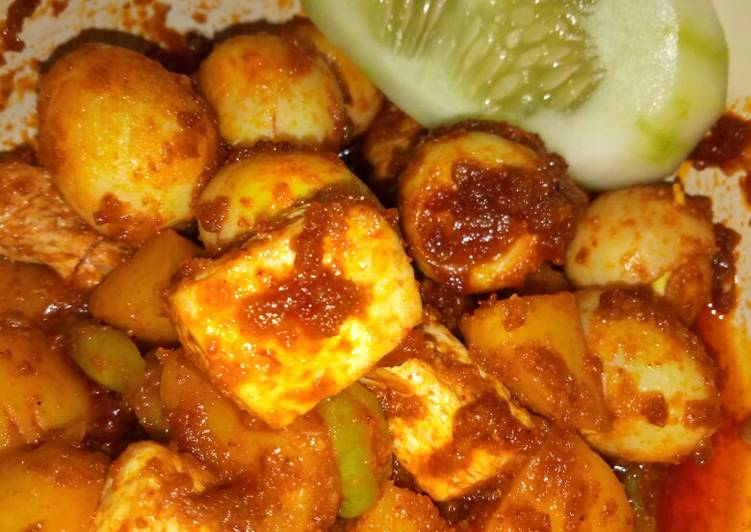 Resep Balado telor puyuh tahu kentang Anti Gagal