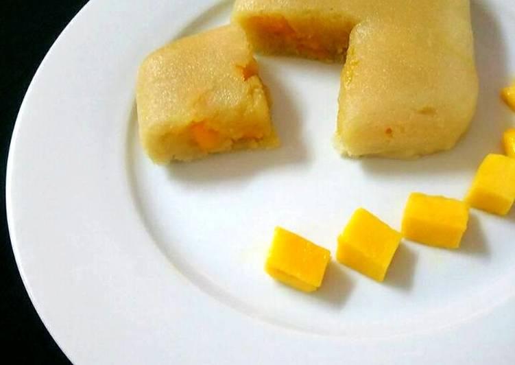 How to Make Homemade 2 Minutes Microwave Sticky Rice Flour With Mango Stuffed Cake