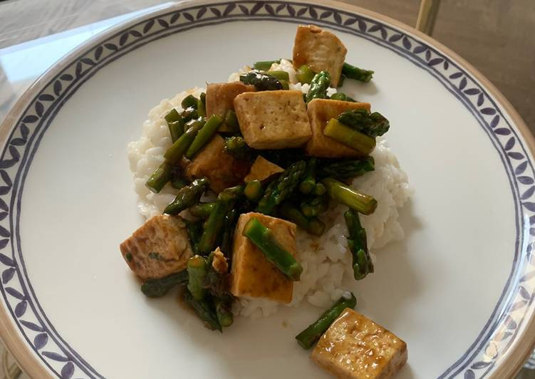 Recipe of Award-winning Tofu and Asparagus in Teriyaki sauce