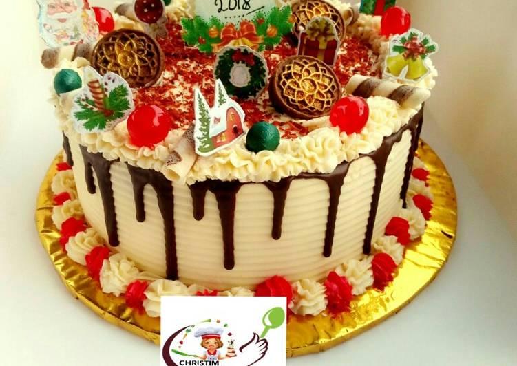 Groovy Butter Cream Christmas Cake Recipe By Christimcreations Cookpad Funny Birthday Cards Online Necthendildamsfinfo