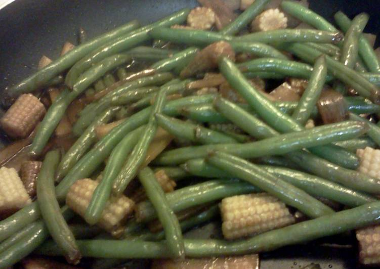 Stir fried green beans and bamboo