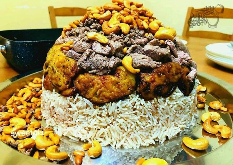 Eggplant_and_meat_maqlouba/ upside down beef-eggplant and rice: