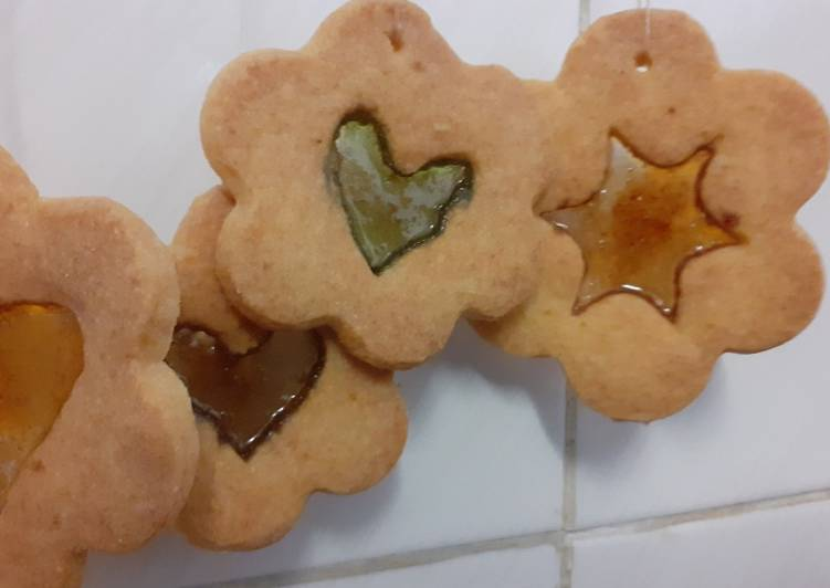 Recipe of Perfect Edible Christmas tree décor; stained glass windows biscuits