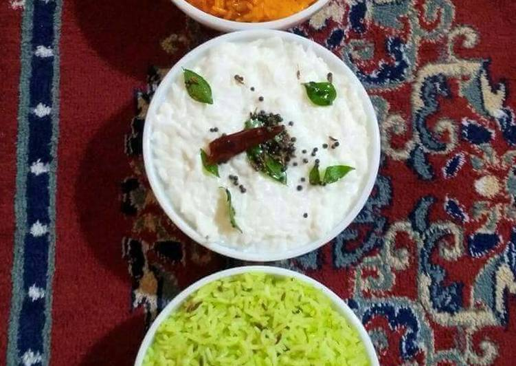 Tiranga chawal (Palak, Jeera rice, Curd rice, Zarda)