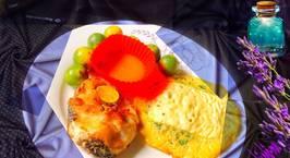 Hình ảnh món Cá chiên chấm mắm tắc Chả trứng thịt bò bằm mĩx rau bina Phủ phô mai tươi