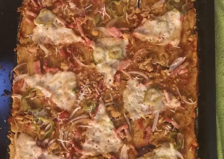Pizza con masa de harina de garbanzo