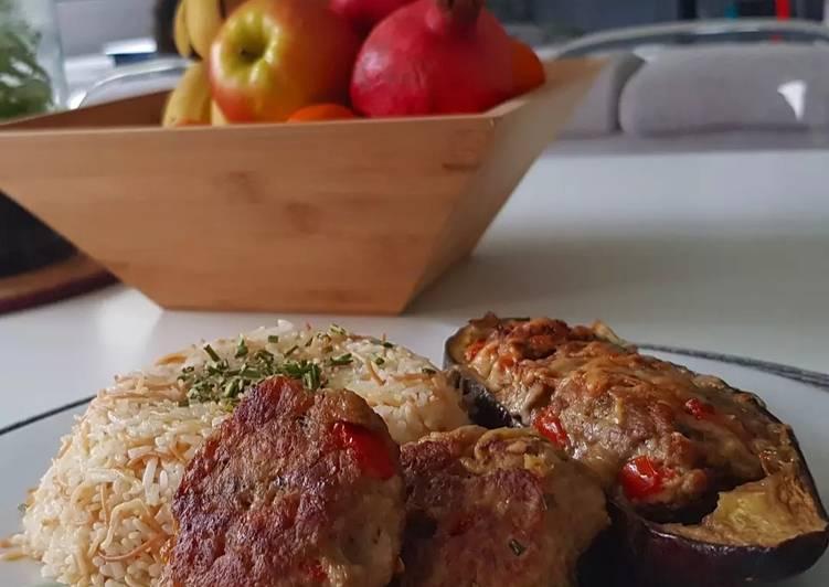 Comment Préparer Des 12• Aubergine farcie à l'agneau- Riz pilaf+Recette boulette 0 gâchis