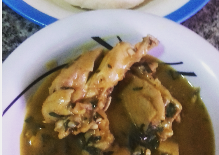 Ofe nsala with chicken and pounded yam