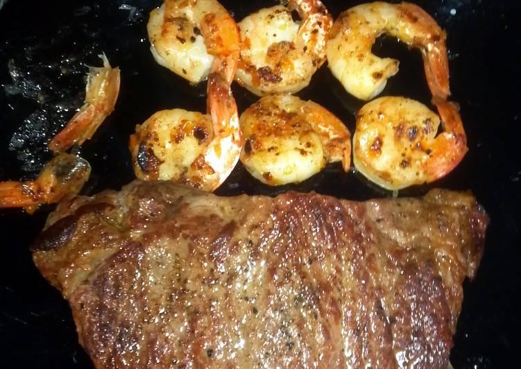 Easiest Way to Cook Appetizing steak & shrimp