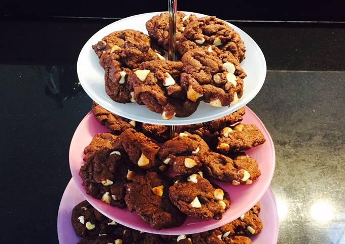 Giant choc- white chocolate chip cookies
