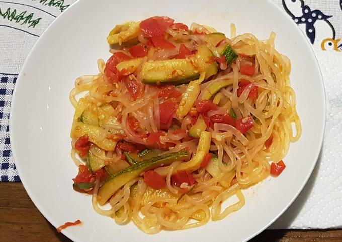 Easiest Way to Prepare Perfect Pasta Shirataki with zucchini sauce