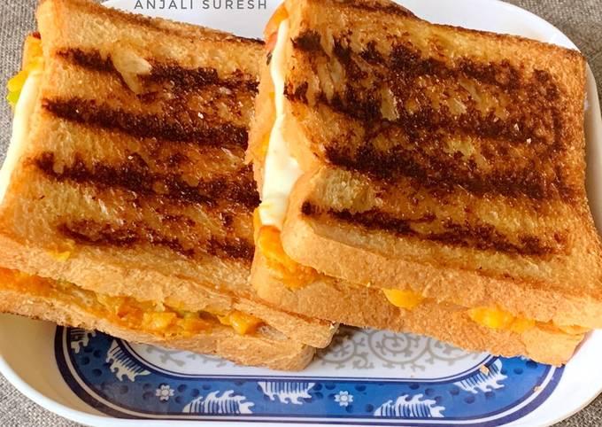 Grilled Schezwan Aloo cheese sandwiches
