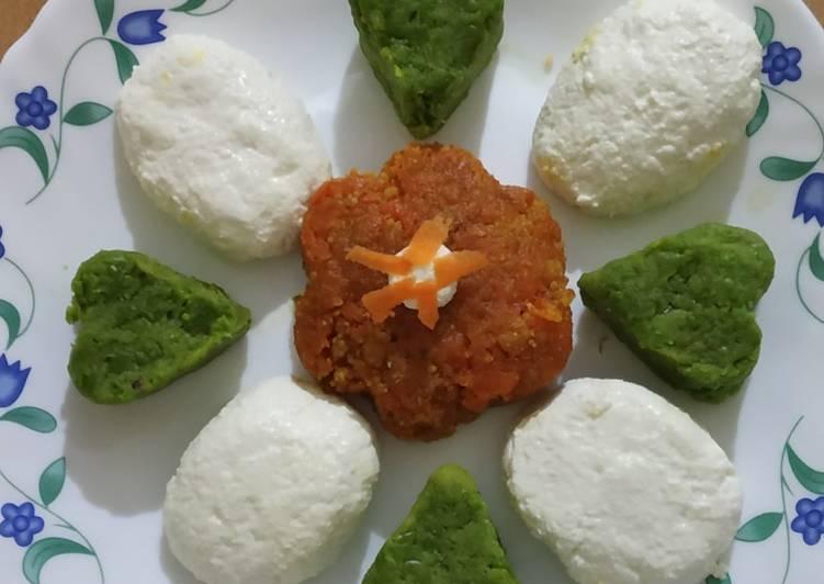 5 Minute Steps to Prepare Fall Tri-colour Burfi, parwal green pea Gajar Steam Sandesh