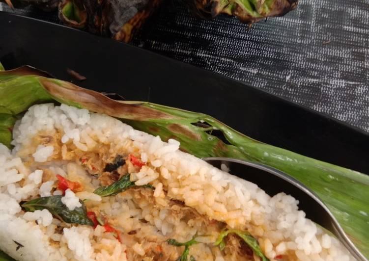 Nasi bakar isi ikan tongkol