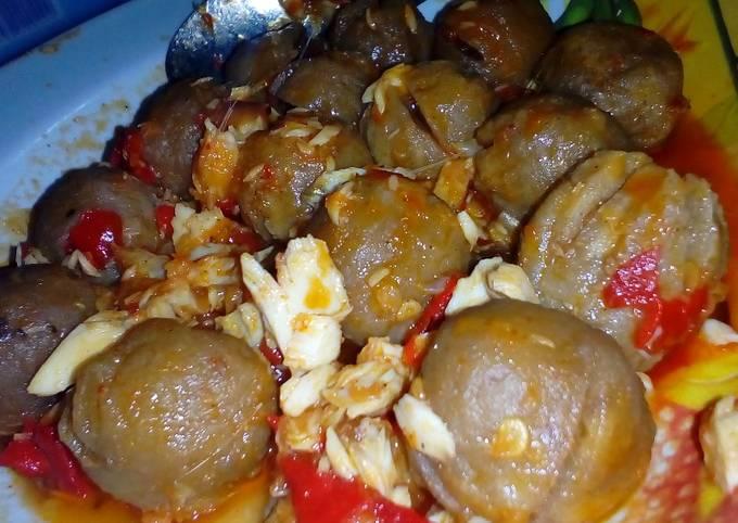 Balado bakso with ikan bakar