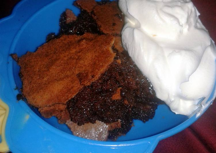 Baked bourbon Brownie pudding