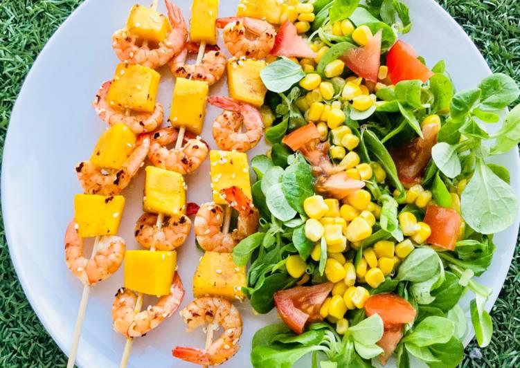 Brochettes mangue et crevettes