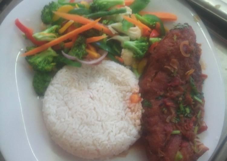 Recipe of Award-winning Fish fillet rice with mix veg