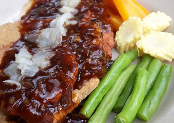 Steak Tempe dengan saus Barbeque
