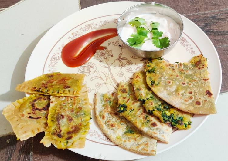 Easiest Way to Make Tasty Stuffed Palak Paneer Bhurji Paratha