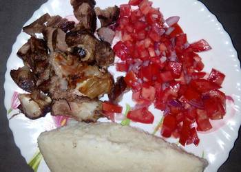 How to Cook Yummy Oven roasted goat meat with ugali n kachumbari