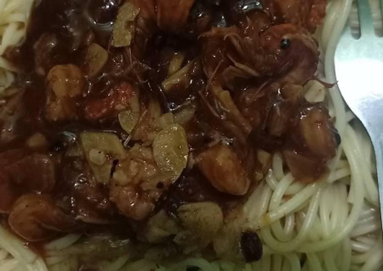 Spagetti udang lada hitam simpel
