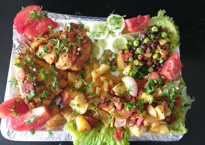 Grill chicken with vegetables and pineapple healthy daid plan