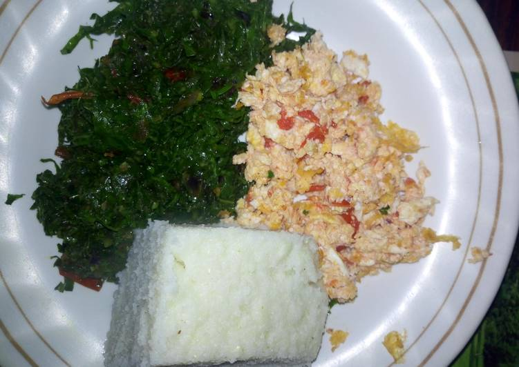 Easiest Way to Make Ultimate Ugali kale and scrambled eggs